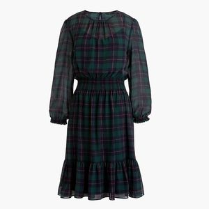 JCREW Cinched-waist dress BlackWatch plaid chiffon